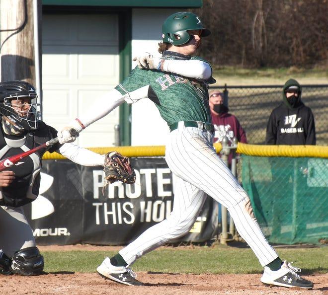 Herkimer College General Dakota Britt follows through on his swing during the second game of Saturday's doubleheader against Mohawk Valley Community College. Britt went 3-for-3 with two doubles and four runs scored in a 12-5 victory.