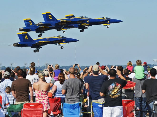 The Navy's Blue Angels pass by the crowd at a recent air show in Jacksonville.