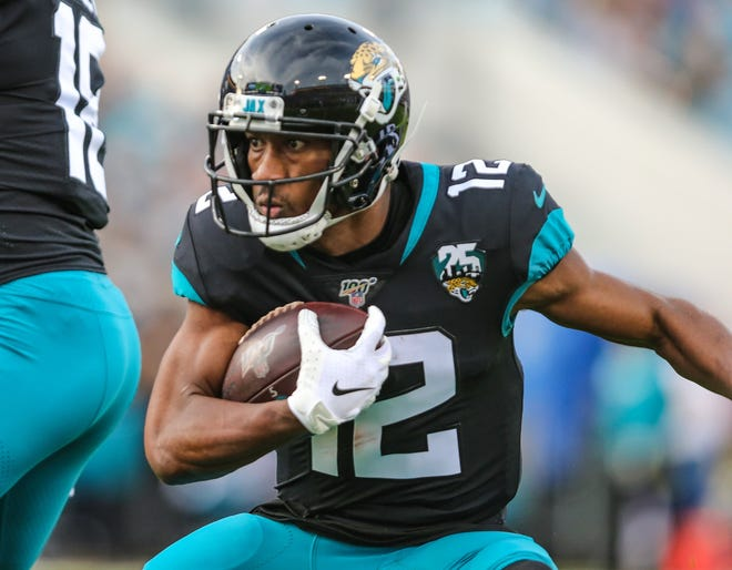 Jaguars wide receiver Dede Westbrook runs after a catch in a 2019 game against the Colts. Westbrook is among several Jaguars yet to find a new team in free agency.