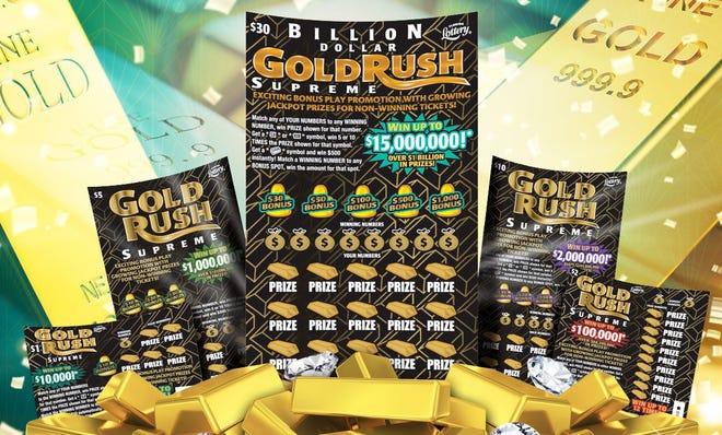 The Florida Lottery's Billion Dollar Gold Rush Supreme scratch-offs.