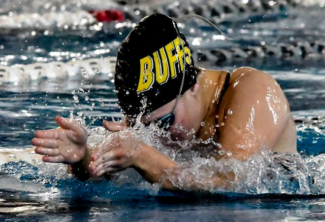 Garden City High School's Avery Meng comes up for a breath and stroke in the breaststroke portion of a 200 medley relay Thursday at the Garden City Famly YMCA. Meng finished second in the 100-yard breaststroke individual event Friday at Wichita Heights.