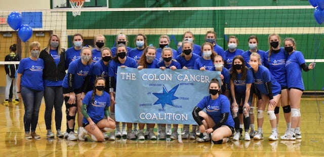 The 2021 Geneseo Volleyball Fundraiser is focusing on Colorectal Cancer Awareness and the team not only celebrated a win against Galesburg on March 30, but also honored the memory of the late Mark Wiese, father of senior teammate Lily Wiese.