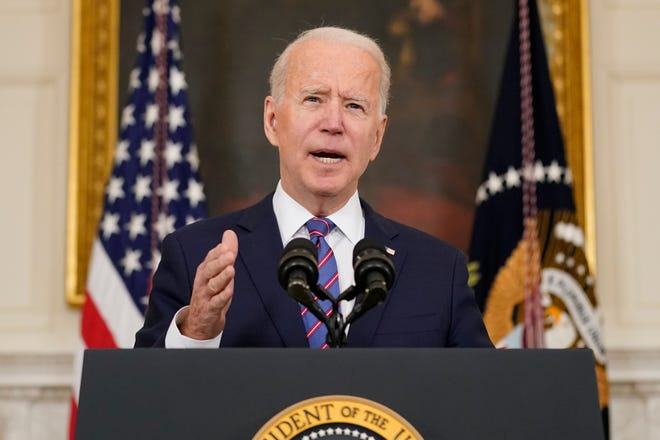 President Joe Biden speaks about the March jobs report in the State Dining Room of the White House, Friday, April 2, 2021, in Washington. (AP Photo/Andrew Harnik)