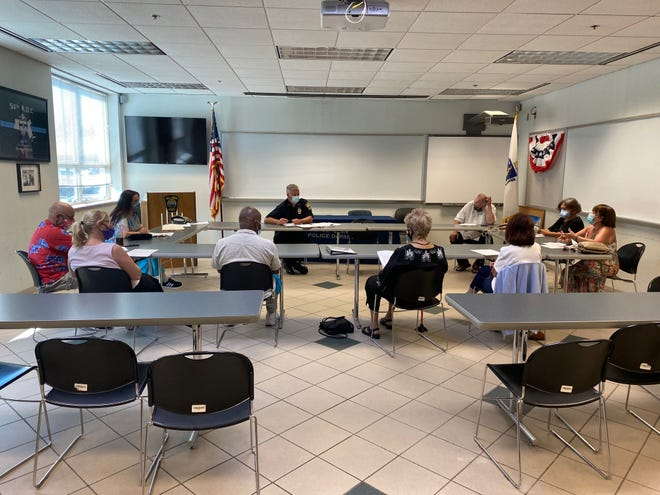 Organizers with United Interfaith Action sit with Fall River Police Chief Jeffrey Cardoza in September 2020 to discuss starting Spanish lessons for Fall River police officers. Over the next few weeks, the same group with hold two community forums to discussion education and racial justice with Superintendent of Schools Matthew Malone.