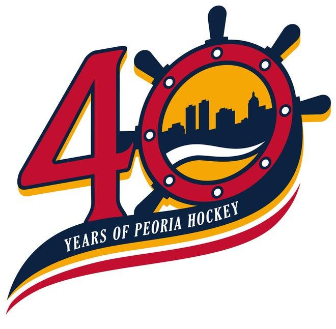 The Peoria Rivermen 40th season celebration logo.
