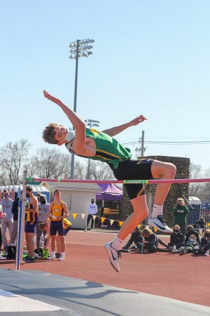 Shown is Basehor-Linwood sophomore Tyson Ruud competing in the high jump Thursday at the Baldwin Invitational at Baker University.