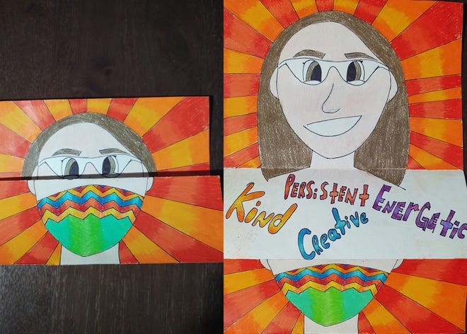 """""""Behind the Mask"""" art by Churchville-Chili eighth grader Violet Everhart."""