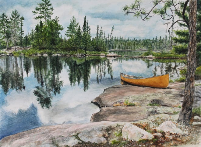 """Paradise in the North Woods"" by Moundridge artist Kathy Waltner. She will exhibit more than two dozen watercolor paintings in her new show, ""This Is Us,"" at Carriage Factory Art Gallery April 15-June 12."