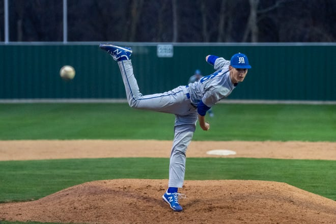 Midlothian pitcher Colton Clawson gets some time on the mound during a recent home game. The Panthers suffered a 10-2 loss to Joshua last Tuesday.