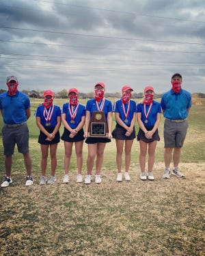 The Heritage High School varsity girls' golf team won the District 11-4A championship at Mansfield National Golf Club March 29-30. The Jags advance to the 4A Region II girls' golf tournament held at Van Zandt Country Club in Canton on April 19-20. The girls' team consists of: (from left) Coach Jared Martin; Cate Swize, 5th place individual/1st team all district; Brynlea Caldwell, 4th place individual/1st team all district; Trinity Conard, 3rd place individual/1st team all district; Kodi Nolen, 1st place individual/1st team all district; Maddie Sanders, 2nd place individual/1st team all district; and Coach Brant Bennett.