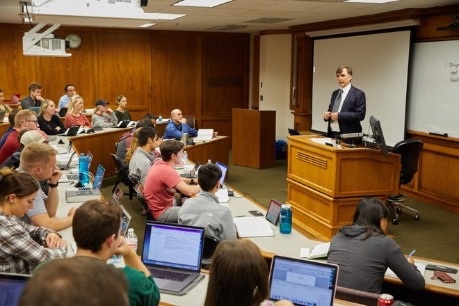 Lindsay Robertson, who holds the Chickasaw Nation Endowed Chair in Native American Law, teaches a class at the University of Oklahoma College of Law.