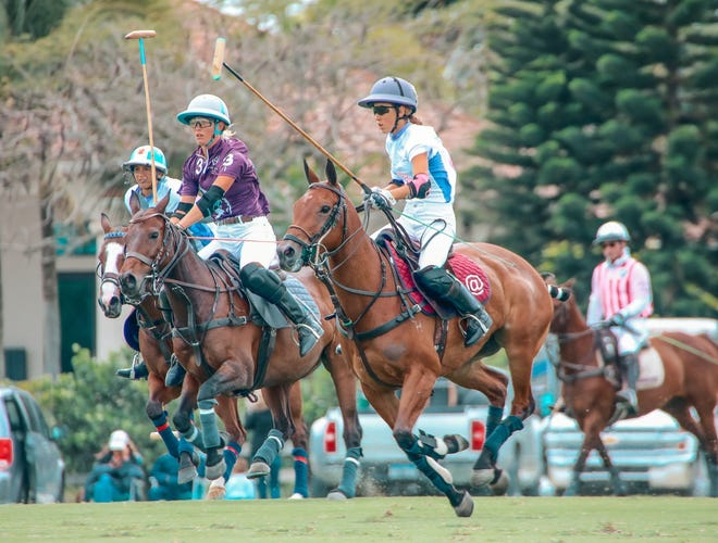 Millie Hine (3) of WPL is double-teamed by Santa Rita's Mia Cambiaso (left) and Mia Novillo Astrada during Saturday's WCT Legacy Finals at Grand Champions Polo Club.