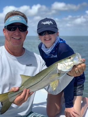 Fishing with her dad Rich Barrett, Natalie Barrett caught and released this impressive snook while on a trip to Islamorda. The 11-year-old angler was using a DOA lure. They also caught several ladyfish, jack crevalle and mangrove snapper on the trip.