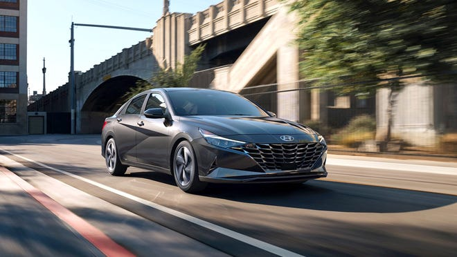 The transmission of the 2021 Hyundai Elantra Limited is continuously variable automatic with manual shift mode and front-wheel drive.