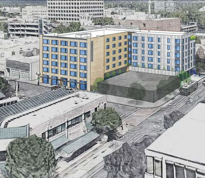 An aerial view of The Montgomery, a proposed mixed-development housing project with both income-based and market-rate units at Willamette Street and 11th Avenue in downtown Eugene.