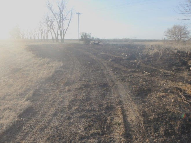An area where Friday night's fire burned near Gypsum.