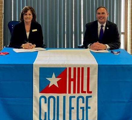 Hill College President Pam Boehm and Tarleton State University President James Hurley have signed a partnership that will provide annual scholarships to transfer students. The scholarships are part of Tarleton's Distinguished College Partnership.