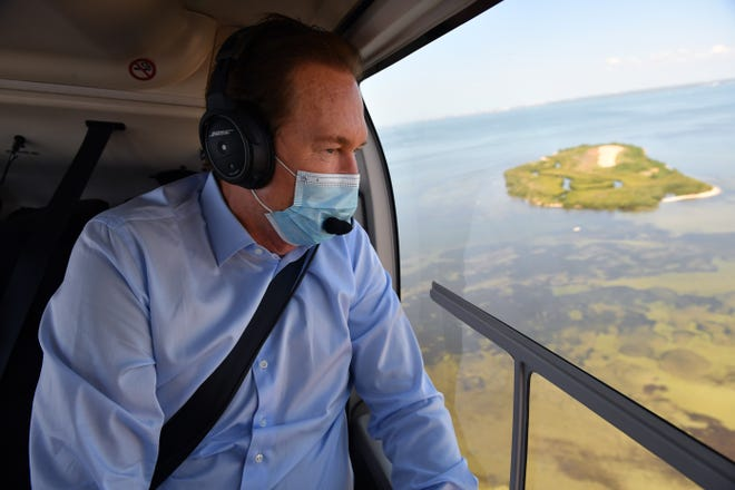 United States Congressman Vern Buchanan toured Piney Point Monday, Apr. 5, 2021, getting a look at the breach in the containment wall, the pumping outflow and Port Manatee where the wastewater is being pumped into Tampa Bay.