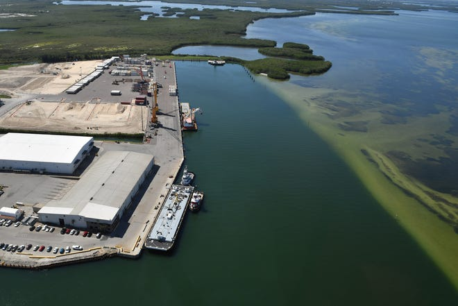 Wastewater from Piney Point is flowing into Tampa Bay at this berth at Port Manatee.  United States Congressman Vern Buchanan toured Piney Point Monday, Apr. 5, 2021, getting a look at the breach in the containment wall, the pumping outflow and Port Manatee where the wastewater is being pumped into Tampa Bay.