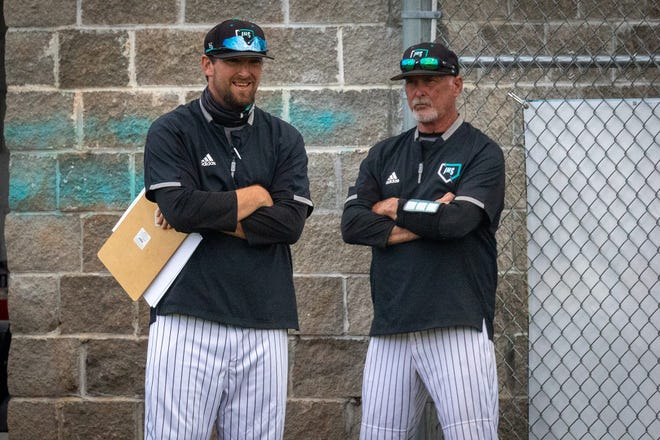 Islands High School baseball coach Brandon Collins, left, and his father Marty Collins.