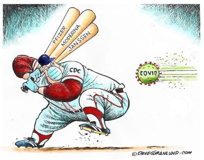 Granlund cartoon: Out of the park. Dave Granlund cartoon on COVID-19 vaccines.