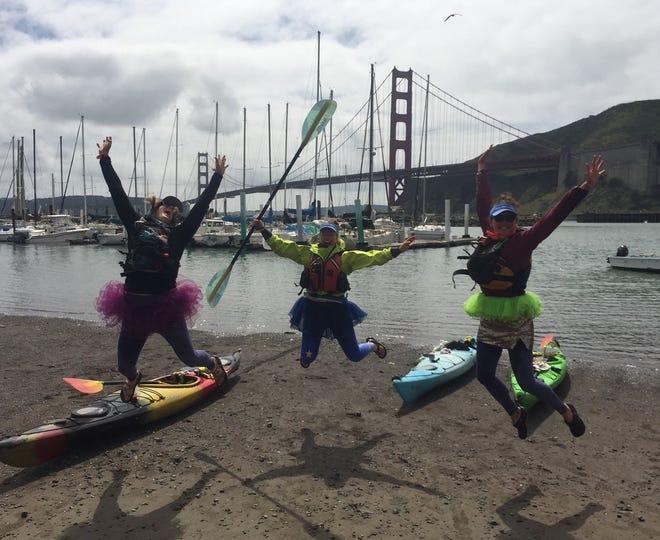 Left to right: Alyssa Winkelman of Mount Shasta, Jamie Trapp of Alaska and Arianna Kosel of Mount Shasta at Horseshoe Bay near Sausalito on Saturday April 3, 2021.