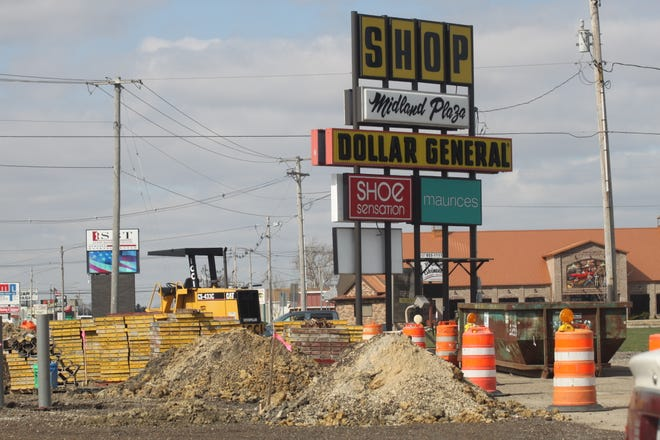 Construction work for a new Arby's at Kewanee's Midland Plaza continues.