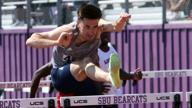 Washburn's Romain Henry set two school records in sweeping the 110 and 400-meter hurdles at the Southwest Baptist Invitational.