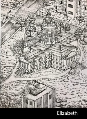 In drawing the Kansas Statehouse, Shawnee Heights junior Elly Keyes said she used such techniques as cross-hatching and stippling to make the intricate details in the pen-and-ink drawing.