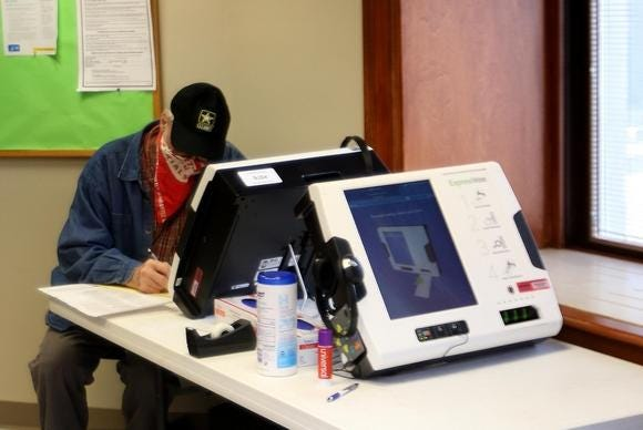 Voting machines stayed active at the Tuscarawas County Courthouse through the early voting period in November.