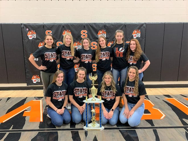 The Strasburg High School cheerleaders won the OASSA Division 6 Non Building state championship recently. Team members are: FRONT Allie Haswell (left), Chole Curfman, Sophia Von Kaenel and Kylee Coles. BACK Ava Fierbaugh, Tessa Bitikofer, Maci Willoughby, Meara Shapaka, Karlie Curfman and Makayla McVay. The squad is coached by Kim Gessner.