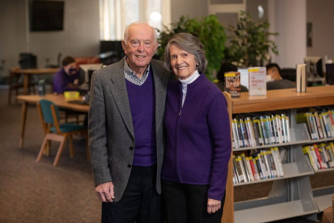 Bob and Jan Archer stand inside the Ashland University library, which soon will bear their name. The couple made the largest one-time gift in university history — more than $10 million — which primarily will go toward just the kinds of scholarships that helped both of them gain their own college educations.