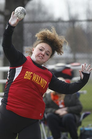 Autumn Newman is part of a strong freshman class that has made an early impact for the Big Walnut girls track and field team. She finished second in the shot put April 3 at the Newark Invitational.