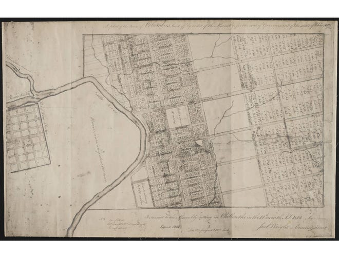 This is the plan of the city of Columbus in 1812 and copied by Joel Wright in 1825.