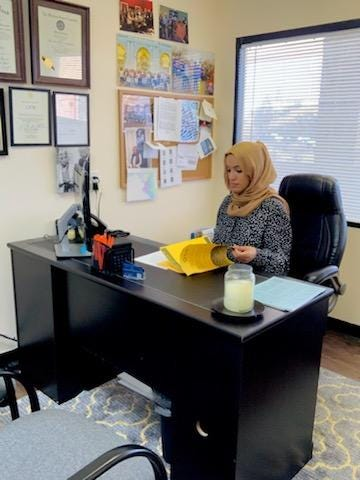 Maryland Director of CAIR Zainab Chaudry sits in her office in Baltimore, Maryland.