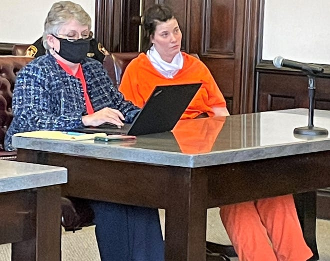 Attorney Marie Seiber with client Nicole Hayes Monday in Coshocton County Common Pleas Court. Hayes received 30 months in prison for failure to obey the signal or order or a police officer, a third-degree felony.