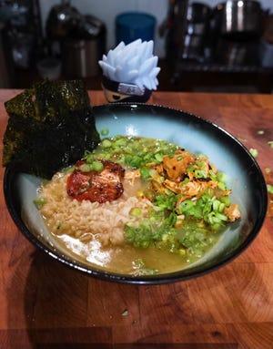 Chef Jonathan Kung's chidori ramen inspired by the Naruto character Kakashi.