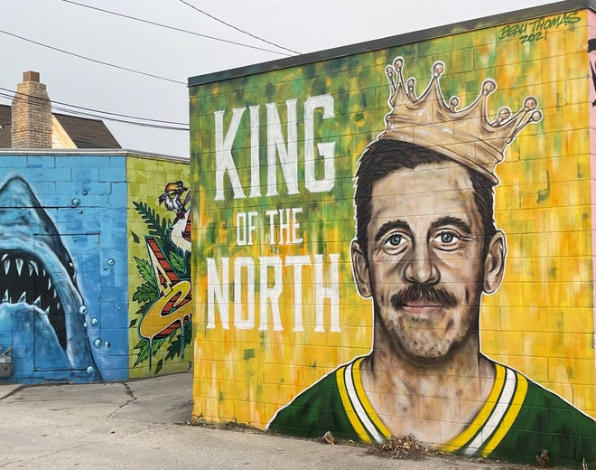 A new mural of Green Bay Packers quarterback Aaron Rodgers by artist Beau Thomas can be found in the alley in the 300 block of South Broadway in Green Bay.