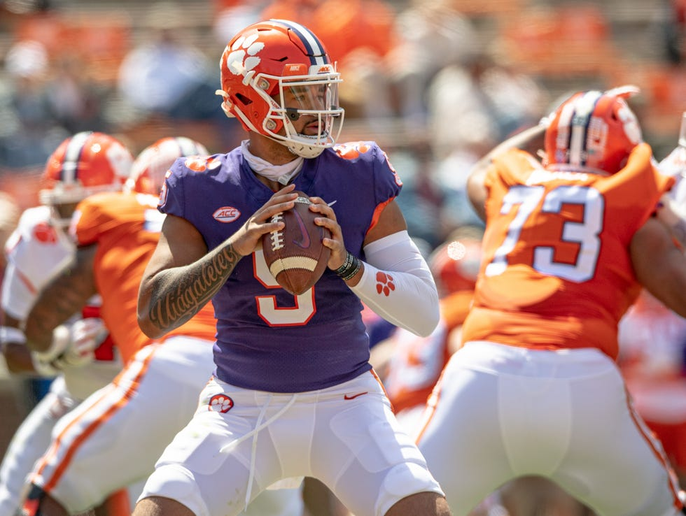 Clemson quarterback D.J. Uiagalelei, throwing a pass in the spring game, is a Heisman Trophy favorite as a sophomore.