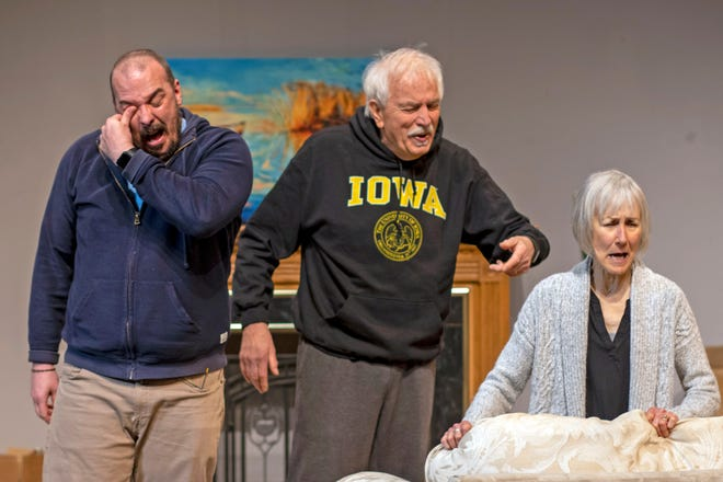"Actors Patrick DuLaney (from left), Ron Clark and Jody Hovland perform in Christopher Okiishi's ""Scandinavian Death Cleaning."""