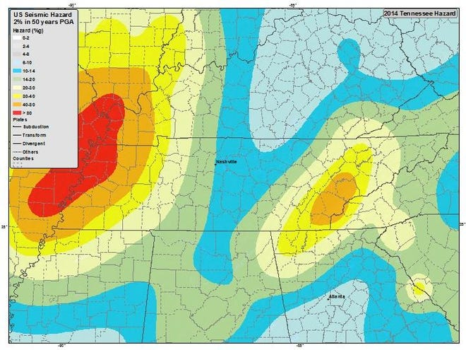 The Eastern Tennessee seismic zone covers much of the state, reaching south into northern Alabama and Georgia. The United States Geological Survey said earthquakes in the area are frequent but usually small.