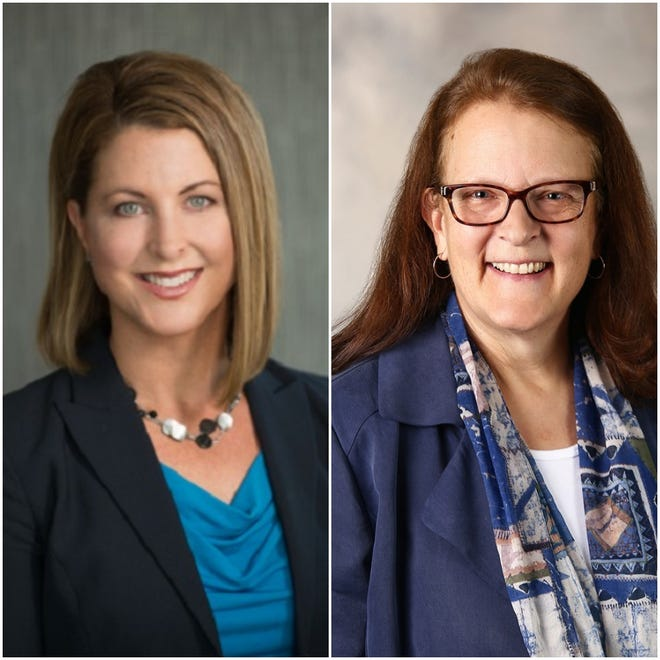Emily Donohue (left) is running as a write-in candidate against incumbent and Elmbrook School Board vice president Jean Lambert (right).
