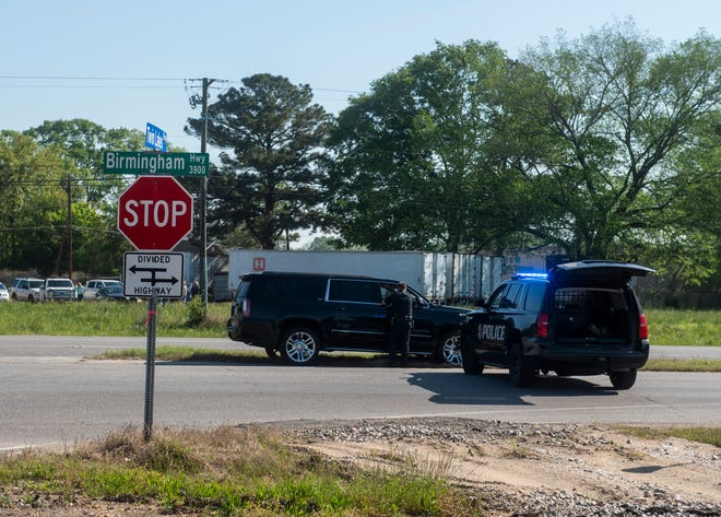 Montgomery Police block of Birmingham Hwy. near Twin Lakes Parkway in Montgomery, Ala., on Monday, April 5, 2021.