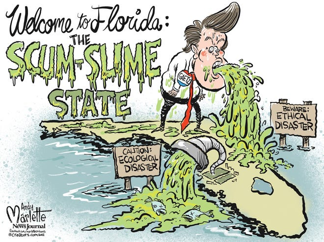 Marlette cartoon: Ecological disasters and ethical disasters are wreaking havoc on the state of Florida.
