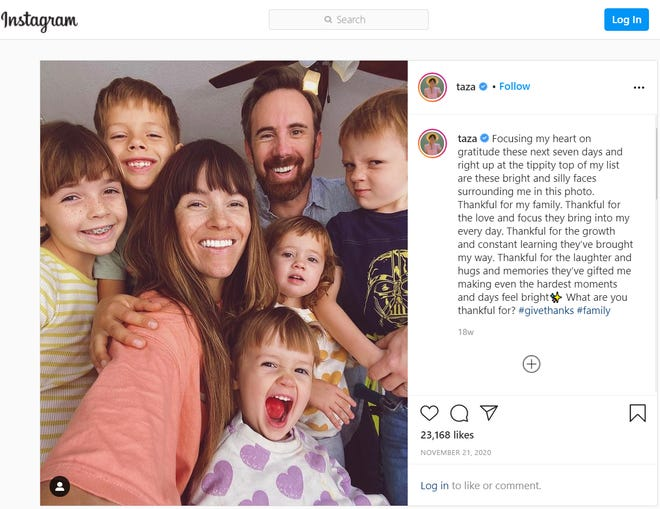 Parenting blogger Naomi Davis — who also goes by Taza — of lovetaza.com is pictured with her five children and husband, Josh Davis. The family, long known for calling New York City home, moved to Arizona in 2020.