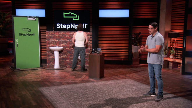 Mike Sewell (right) pitches five investors on Shark Tank in the hopes of convincing them to invest in his Springfield-based business. The show on ABC aired Friday.