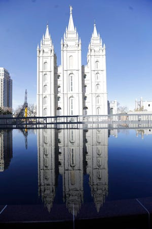 In this April 4, 2020 file photo, the Salt Lake Temple at Temple Square is shown during The Church of Jesus Christ of Latter-day Saints' twice-annual church conference in Salt Lake City. A sex therapist in Utah who has publicly challenged her faith's policies on sexuality lost her church membership following a disciplinary hearing.