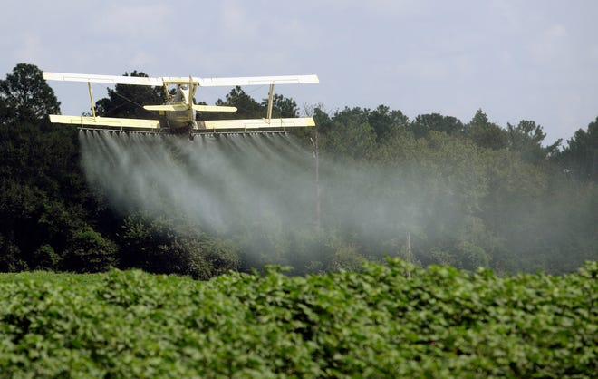 A crop duster sprays a field in Alabama. A study published in the journal Science on Thursday, April 1, 2021 finds that farmers in the U.S. are using smaller amounts of better targeted pesticides, but these are harming pollinators, aquatic insects and some plants far more than decades ago.