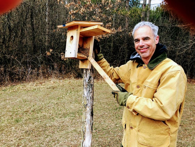 Jerry Apps' son-in-law, Paul, is in charge of maintaining the 22 bluebird houses at the farm up in Waushara County. Some houses are 20-plus years old.