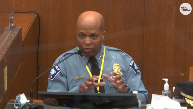 Minneapolis Police Chief Arradondo, testifying to police training, says Derek Chauvin's restraint on George Floyd was an ethics violation.